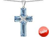 Original Star K™ Large Christian Cross Pendant with Emerald Cut Simulated Aquamarine Stones style: 309626