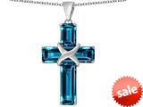 Original Star K™ Large Christian Cross Pendant with Emerald Cut Simulated Blue Topaz Stones style: 309627