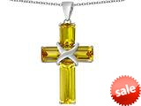 Original Star K™ Large Christian Cross Pendant with Emerald Cut Simulated Citrine Stones style: 309628