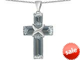 Original Star K™ Large Christian Cross Pendant with Emerald Cut Simulated Diamond Stones style: 309629