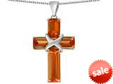 Original Star K™ Large Christian Cross Pendant with Emerald Cut Simulated Orange Mexican Fire Opal Stones style: 309631