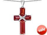 Original Star K™ Large Christian Cross Pendant with Emerald Cut Simulated Garnet Stones style: 309632