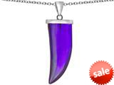 Original Star K™ Large Wolf Fang Tooth Pendant with Simulated Amethyst style: 309637