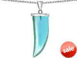 Original Star K™ Large Wolf Fang Tooth Pendant with Simulated Aquamarine style: 309639