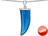 Original Star K™ Large Wolf Fang Tooth Pendant with Simulated Blue Topaz style: 309640