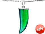 Original Star K™ Large Wolf Fang Tooth Pendant with Simulated Emerald style: 309643