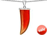 Original Star K™ Large Wolf Fang Tooth Pendant with Simulated Orange Mexican Fire Opal style: 309644