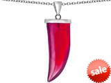 Original Star K™ Large Wolf Fang Tooth Pendant with Simulated Ruby style: 309647