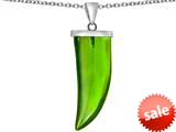 Original Star K™ Large Wolf Fang Tooth Pendant with Simulated Peridot style: 309649