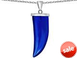 Original Star K™ Large Wolf Fang Tooth Pendant with Simulated Sapphire style: 309650