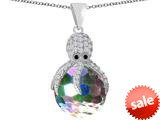 Original Star K™ Large Octopus Pendant with 15mm Faceted Simulated Rainbow Mystic Topaz Ball style: 309653