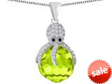 Original Star K™ Large Octopus Pendant with 15mm Faceted Simulated Apple Green Amethyst Ball style: 309655
