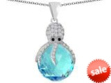 Original Star K™ Large Octopus Pendant with 15mm Faceted Simulated Aquamarine Ball style: 309656