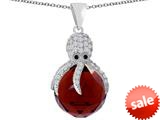 Original Star K™ Large Octopus Pendant with 15mm Faceted Simulated Garnet Ball style: 309660