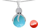 Original Star K™ Large Octopus Pendant with 15mm Faceted Simulated Turquoise Ball style: 309665