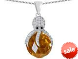 Original Star K™ Large Octopus Pendant with 15mm Faceted Simulated Imperial Yellow Topaz Ball style: 309666