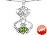 Celtic Love By Kelly ™ Celtic Knot Claddagh Heart Pendant with Heart Shape Simulated Peridot style: 309667