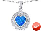 Original Star K ™ Circle Of Love Pendant with 10mm Heart Shape Created Blue Opal style: 309669