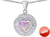 Original Star K ™ Circle Of Love Pendant with 10mm Heart Shape Created Pink Opal style: 309671