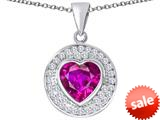 Original Star K ™ Circle Of Love Pendant with 10mm Heart Shape Created Pink Sapphire style: 309672