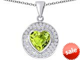 Original Star K ™ Circle Of Love Pendant with 10mm Heart Shape Simulated Apple Green Amethyst style: 309674