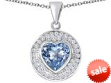 Original Star K ™ Circle Of Love Pendant with 10mm Heart Shape Simulated Aquamarine style: 309675