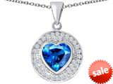 Original Star K ™ Circle Of Love Pendant with 10mm Heart Shape Simulated Blue Topaz style: 309676