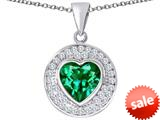 Original Star K ™ Circle Of Love Pendant with 10mm Heart Shape Simulated Emerald style: 309679