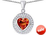 Original Star K ™ Circle Of Love Pendant with 10mm Heart Shape Simulated Orange Mexican Fire Opal style: 309680