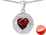 Original Star K ™ Circle Of Love Pendant with 10mm Heart Shape Simulated Garnet style: 309681