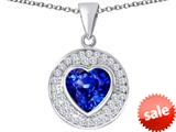 Original Star K ™ Circle Of Love Pendant with 10mm Heart Shape Simulated Sapphire style: 309682