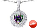 Original Star K ™ Circle Of Love Pendant with 10mm Heart Shape Rainbow Mystic Topaz style: 309683