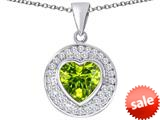Original Star K ™ Circle Of Love Pendant with 10mm Heart Shape Simulated Peridot style: 309684