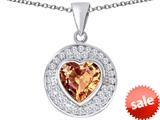 Original Star K ™ Circle Of Love Pendant with 10mm Heart Shape Simulated Imperial Yellow Topaz style: 309685