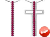 Original Star K ™ 2 in 1 Straight Path Cross Pendant wtih Round Created Ruby style: 309686