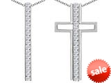 Original Star K ™ 2 in 1 Straight Path Cross Pendant wtih Round Simulated White Topaz style: 309688