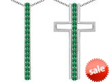 Original Star K ™ 2 in 1 Straight Path Cross Pendant wtih Round Simulated Emerald style: 309689