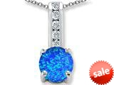 Original Star K™ Round 7mm Created Blue Opal Pendant style: 309697