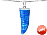 Original Star K™ Large Wolf Fang Tooth Pendant with Created Blue Opal style: 309699