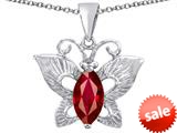 Original Star K™ Love Butterfly Pendant with Marquise Shape Created Ruby style: 309703