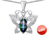 Original Star K™ Love Butterfly Pendant with Marquise Shape Rainbow Mystic Topaz style: 309705