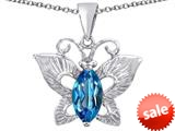 Original Star K™ Love Butterfly Pendant with Marquise Shape Simulated Blue Topaz style: 309708