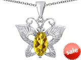 Original Star K™ Love Butterfly Pendant with Marquise Shape Simulated Citrine style: 309709