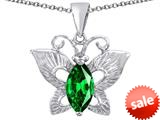 Original Star K™ Love Butterfly Pendant with Marquise Shape Simulated Emerald style: 309710