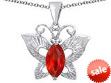 Original Star K™ Love Butterfly Pendant with Marquise Shape Simulated Orange Mexican Fire Opal style: 309711