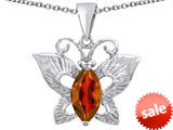 Original Star K™ Love Butterfly Pendant with Marquise Shape Simulated Garnet style: 309712