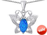 Original Star K™ Love Butterfly Pendant with Marquise Shape Created Blue Opal style: 309713