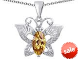Original Star K™ Love Butterfly Pendant with Marquise Shape Simulated Imperial Yellow Topaz style: 309715