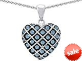 Original Star K™ Round Simulated Aquamarine Puffed Heart Pendant style: 309718