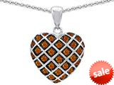 Original Star K™ Round Simulated Orange Mexican Fire Opal Puffed Heart Pendant style: 309721